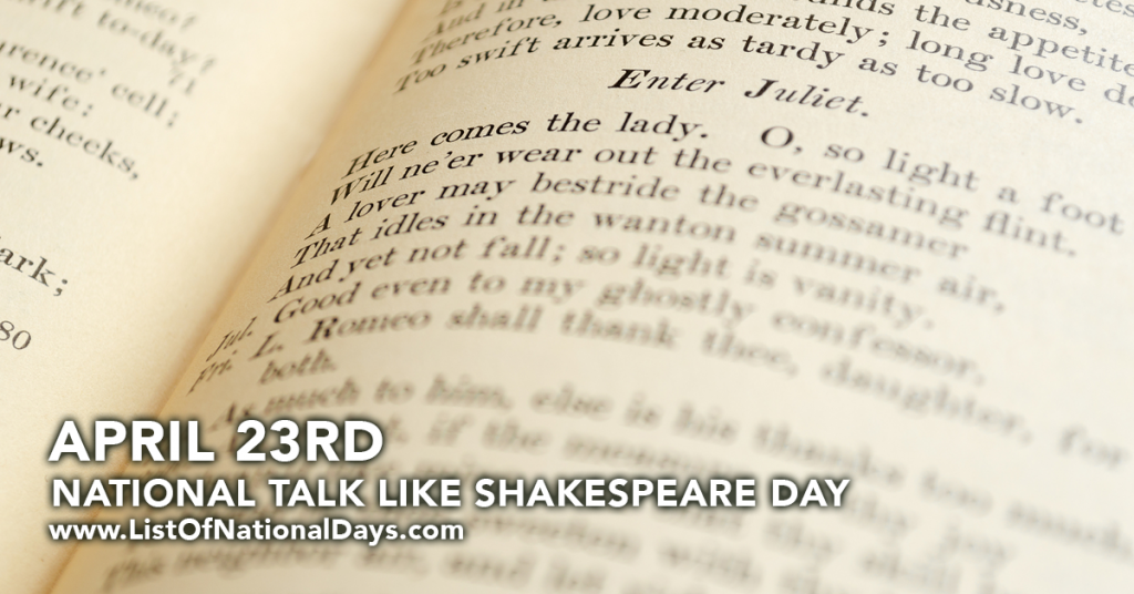 NATIONAL TALK LIKE SHAKESPEARE DAY