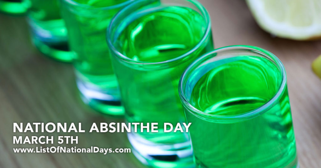Shot glasses of the green liquid known as absinthe