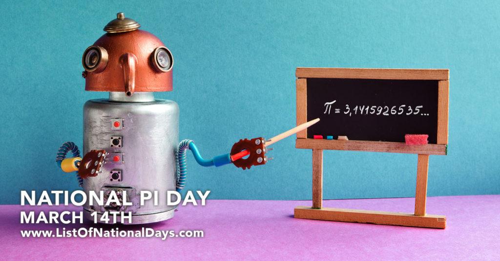 A miniture robot pounding at PI on a miniature chalkboard.