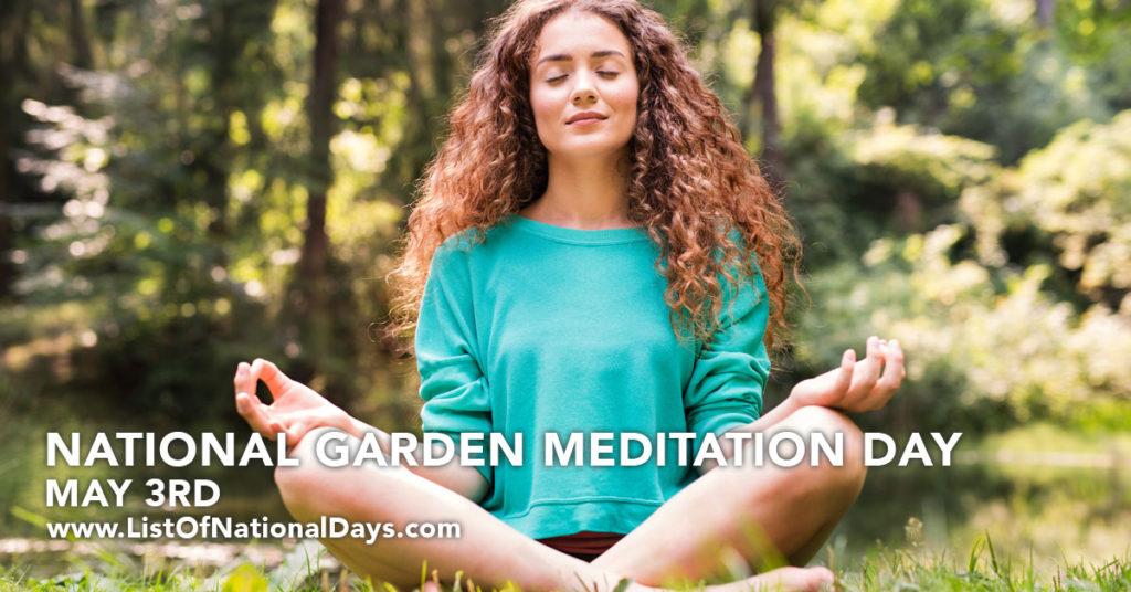 A girl meditating in a garden.