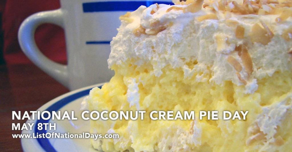 Close up view of a coconut cream pie.