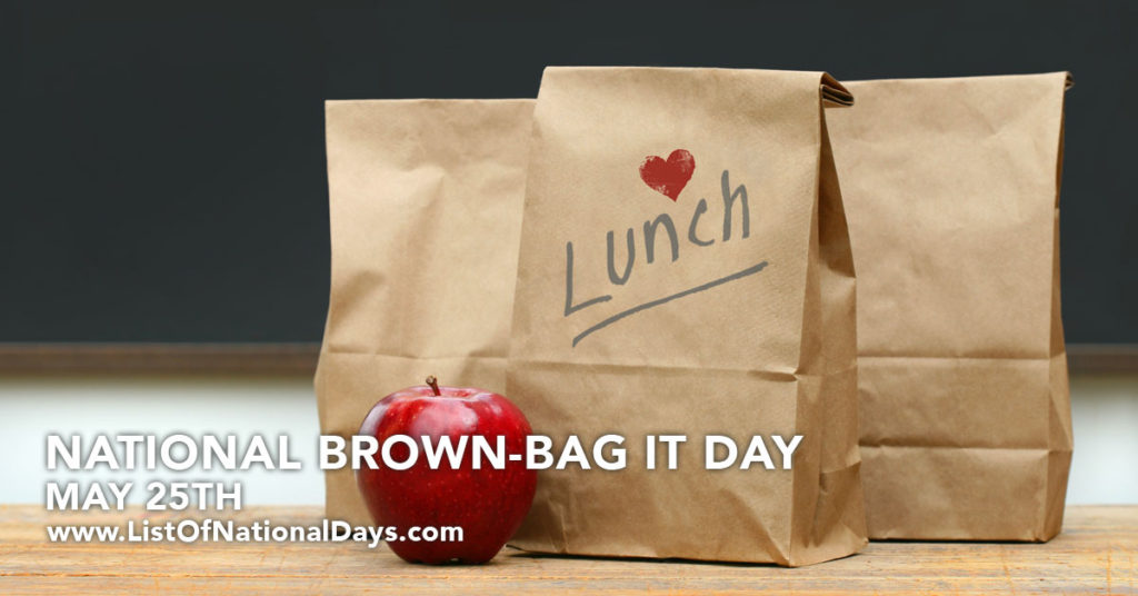 Three brown lunch bags with a red apple in front of them.