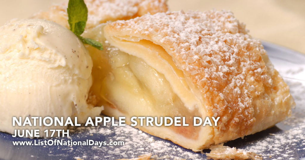 A slice of apple strudel and a scoop of vanilla.