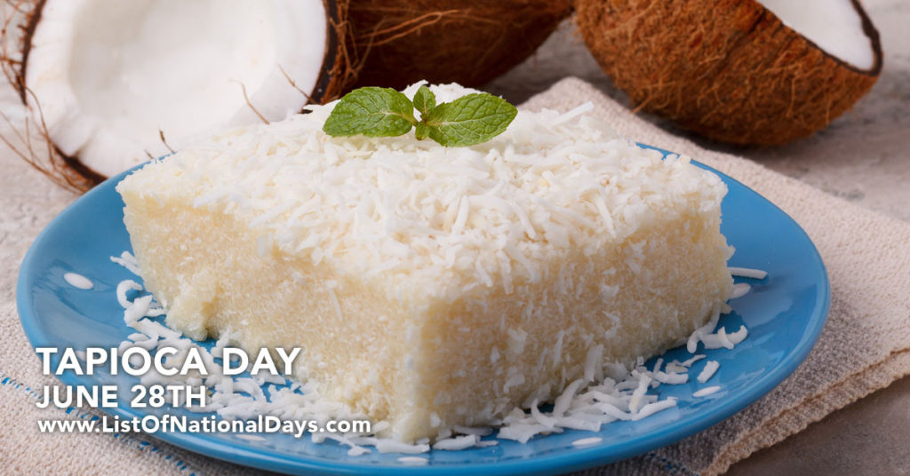 A square slice of tapioca sprinkled with coconut flakes on a blue plate.