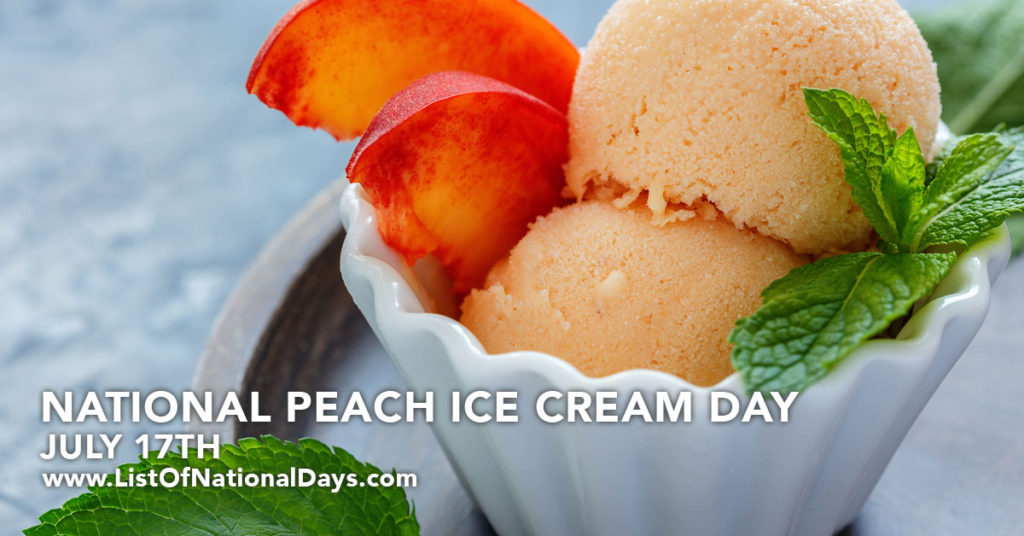 A bowl of filled with two scoops of peach ice cream and two peach slices.