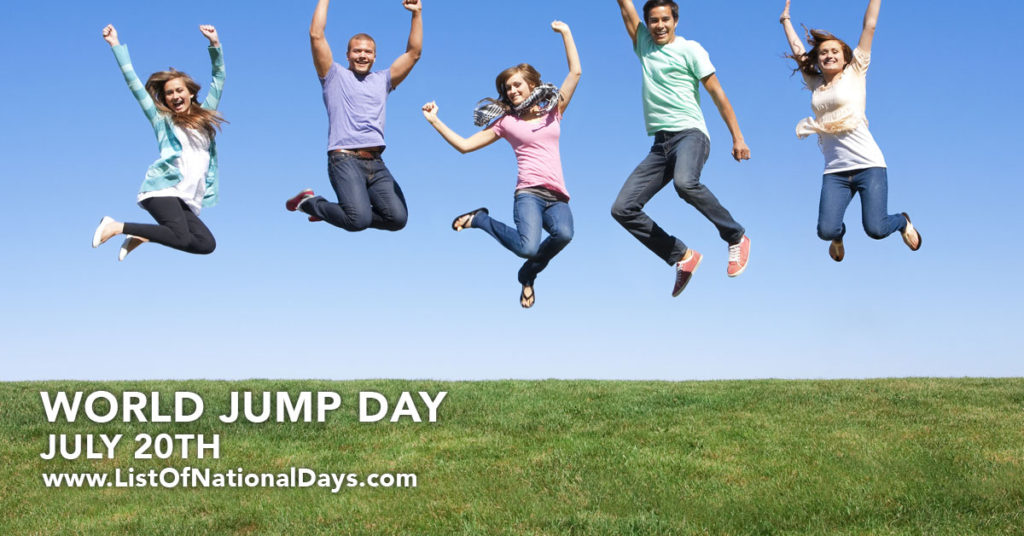 A group of people jumping in a grassy field on a sunny day.